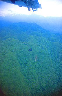 Gunung Mulu national park hills and caves from aircraft