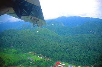 Mulu Airport view after take-off with Malaysia Airlines Rural Air Services Twin Otter aircraft