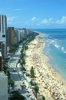 Recife, Boa Viagem beach from Recife Palace Hotel roof terrace
