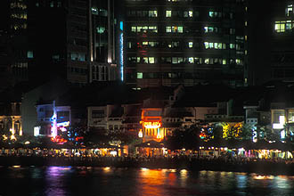 Singapore Boat Quay Restaurants by night