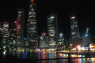 Singapore Boat Quay and skyline by night