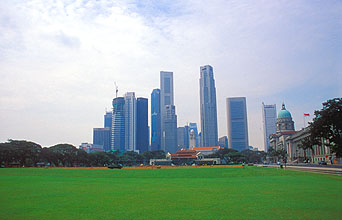 Singapore Padang Cricket Club and skyline