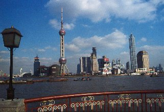 Shanghai skyline, view from the Bund towards the Oriental Pearl Tower