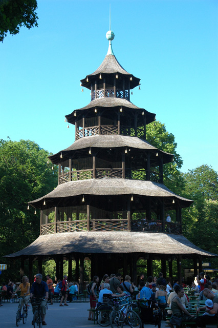 munich bavaria germany muc munich chinese tower in the middle of a beer garden in the. Black Bedroom Furniture Sets. Home Design Ideas