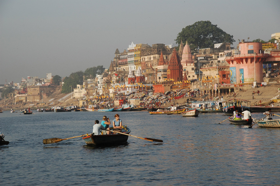 Vns varanasi or benares river trip on the ganges with panorama view