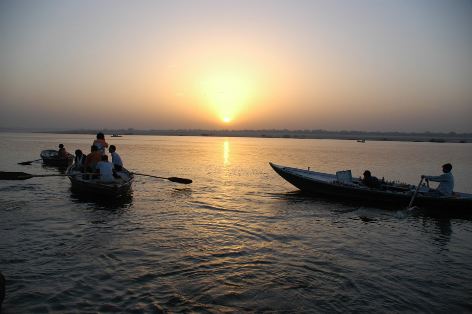 VNS Varanasi or Benares - sunrise over the holy river Ganges with boats 3008x2000