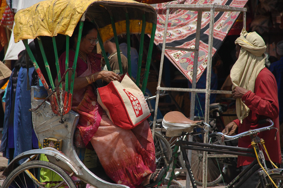 VNS Varanasi or Benares - woman in cycle-rickshaw outside Durga Temple 3008x2000
