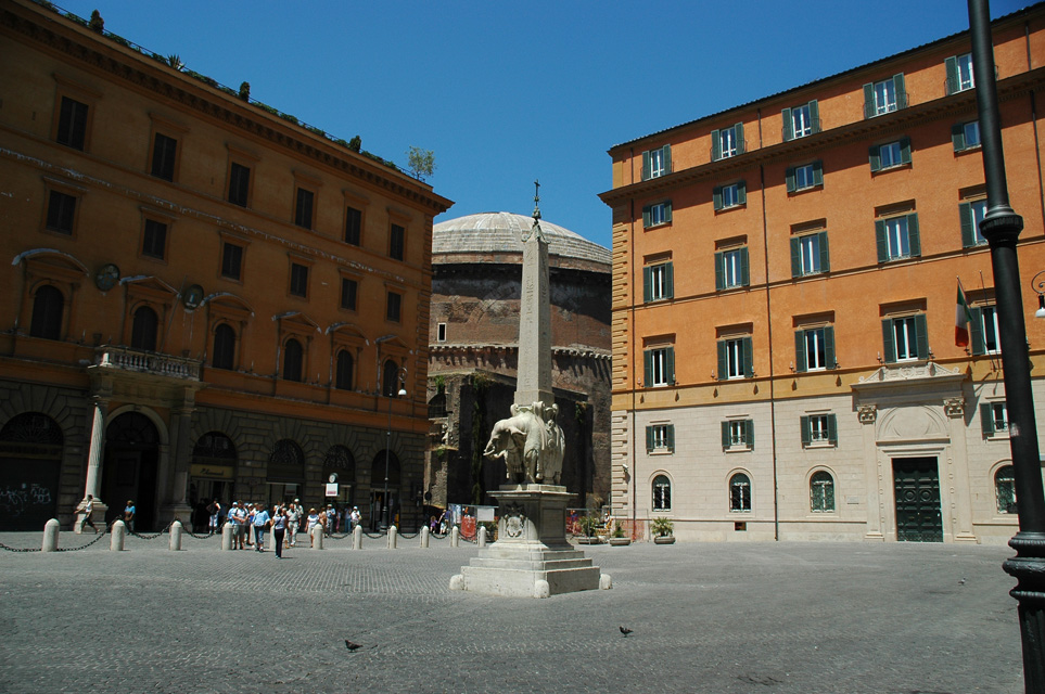 FCO Rome - Piazza della Minerva with a Bernini statue of an elephant supporting an Egyptian obelisk 3008x2000