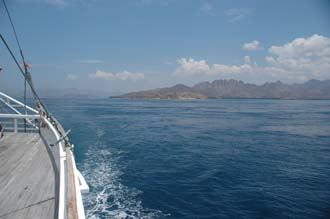 BMU Komodo Island Ombak Putih sailing ship island panorama from rear upper deck 3008x2000
