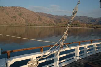 BMU Komodo Island Ombak Putih sailing ship view from upper deck to the island after sunrise 2 3008x2000