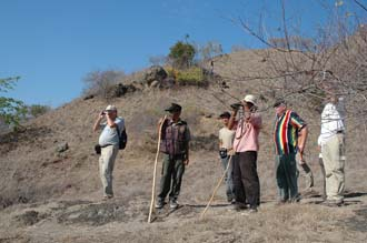 BMU Komodo Island rangers and visitors watching out for Komodo dragons 3008x2000
