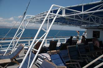 AMI Lombok Ombak Putih sailing ship Gili Nanggu Island upper deck with deck chairs 1 3008x2000
