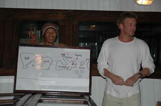 AMI Lombok Ombak Putih sailing ship captains dinner Martin handing out the tips 2 3008x2000