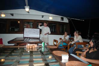 AMI Lombok Ombak Putih sailing ship captains dinner Martin handing out the tips 3 3008x2000