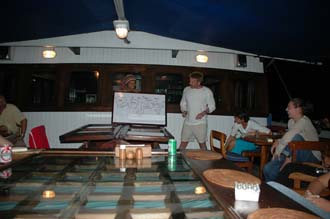 AMI Lombok Ombak Putih sailing ship captains dinner Martin handing out the tips 4 3008x2000
