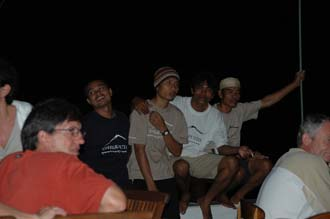 AMI Lombok Ombak Putih sailing ship open air buffet for dinner on lower deck crew members 1 3008x2000