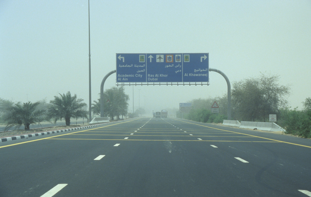 DXB Dubai - light sandstorm on the highway from Hatta to Dubai 5340x3400